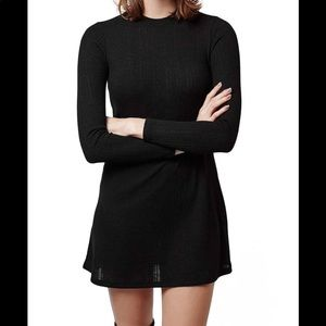 Black Long Sleeve Ribbed Top Shop Dress